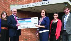 The Brunsdon Group - cheque handover