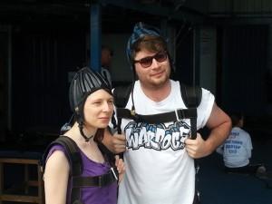 Parachute jumpers Alison Lovett Turner and Josh Peett